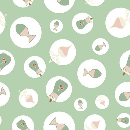Vector green seamless pattern background with kitchen icons.