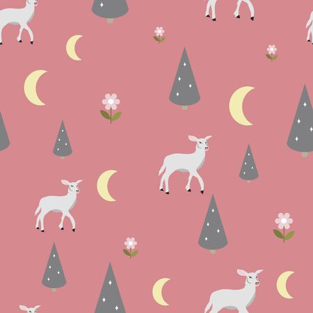 Vector pink seamless pattern background with a deer, moon and trees.
