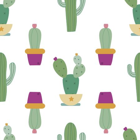 vector seamless pattern background with cactus.