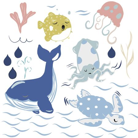 Vector illustration with turtles whales, squids and balloon fish. white background Ilustrace