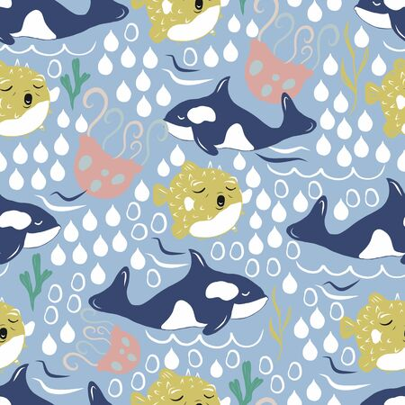 Vector seamless pattern with whales, jellyfish and balloon fish. Ilustracja