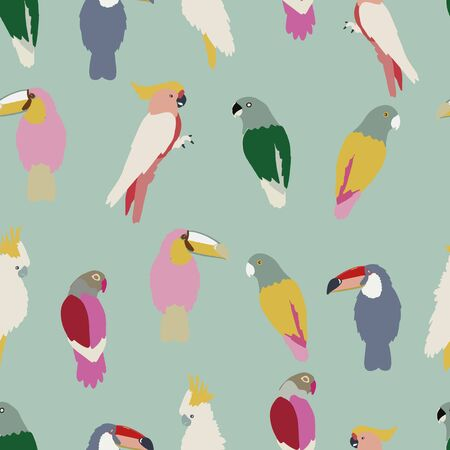 Vector seamless pattern background tropical birds. blue background. Stock Illustratie