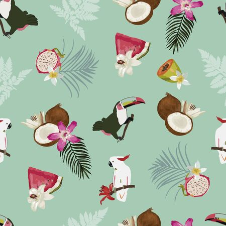 Vector seamless pattern with fruits, leaves, toucan and a cockatoo . Vectores