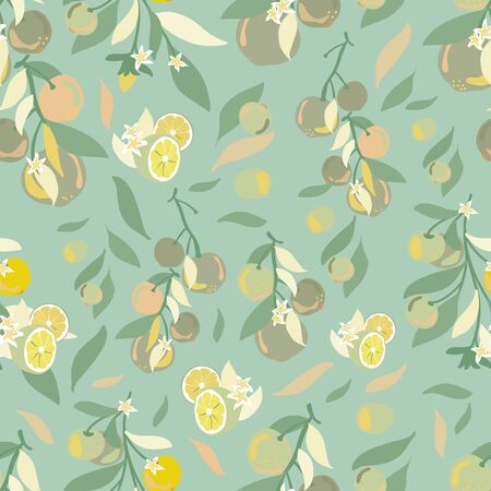 Vector seamless pattern background with lemons branches .Blue background Illustration