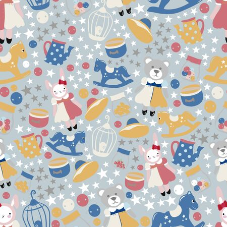 vector seamless pattern with toys. Blue background.