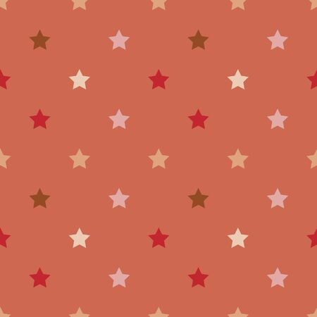 Vector seamless pattern with stars. Orange background