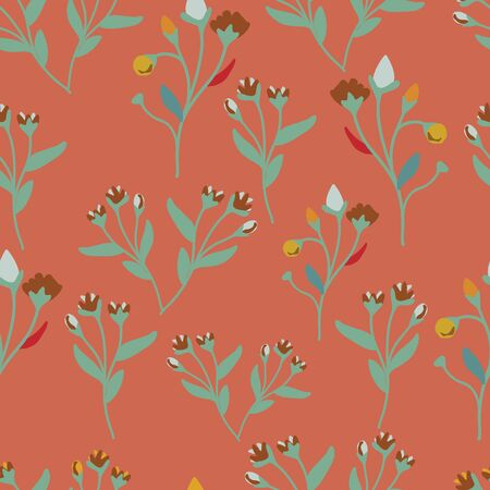 Vector orange seamless pattern background with flowers.