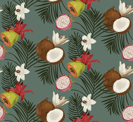 Vector seamless pattern background with tropical foliage and coconuts.