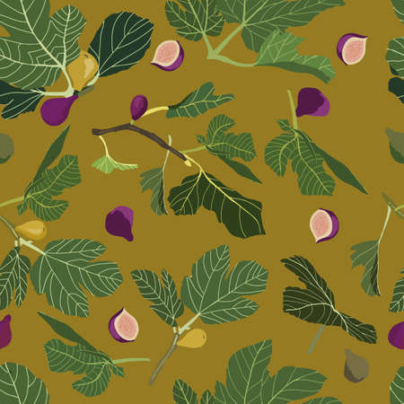 vector seamless pattern with figs in a yellow background.