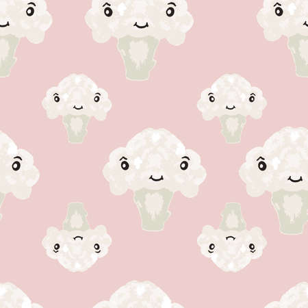Vector seamless pattern with cauliflowers in a pink background.