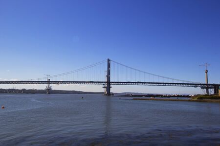 forth: Forth Road Bridge from South Queensferry Scotland