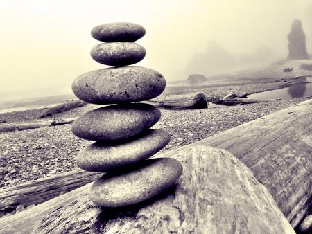 Stones stacked on ruby beach Washington