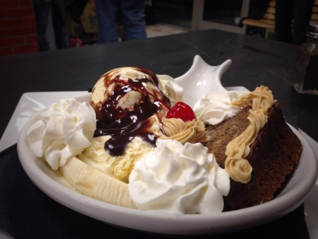 An American favorite banana split with homemade chocolate banana bunt cake