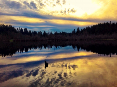 Reflections of a sunset Stock Photo