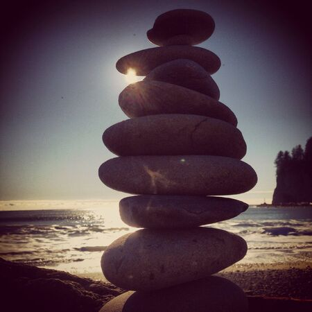 Rocks stacked on Washington state beach