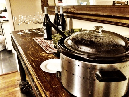 Crock pot and wine  Stock Photo