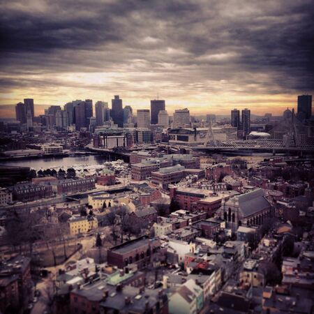 Boston City skyline in winter Stock Photo