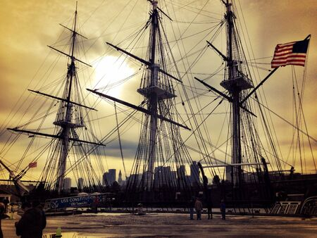 Ship at Boston Harbor Stock Photo