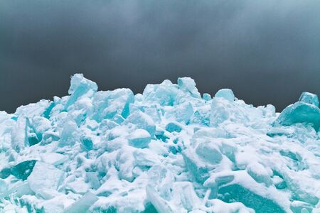 Blue ice piled on the shore of Lake Superior