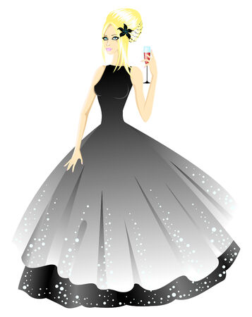 Princess in grey dress with glass in hand.  illustration