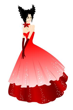 Princess in red dress.  illustration Vector