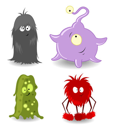 cyclops: Four Little monsters.  illustration