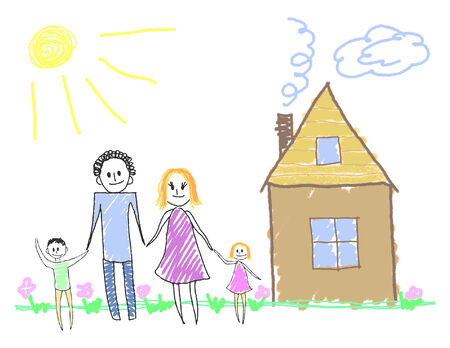 Happy family near the house.  illustration Illustration