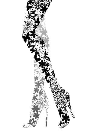 Glamour fashion legs on white. illustration Illustration