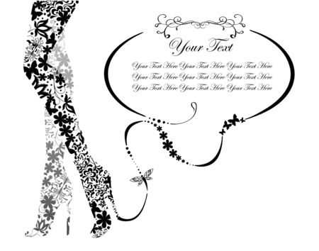 Vintage legs with text field.  illustration