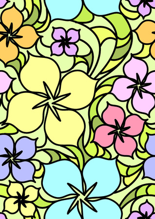 Colorful flowers seamless pattern.  illustration