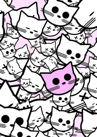Abstract background with funny cats.  illustration Vector