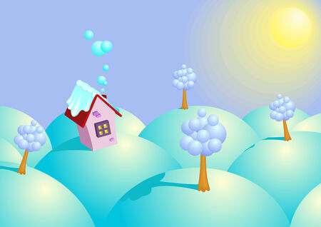 Background winter sunny day.  illustration Stock Vector - 6815313