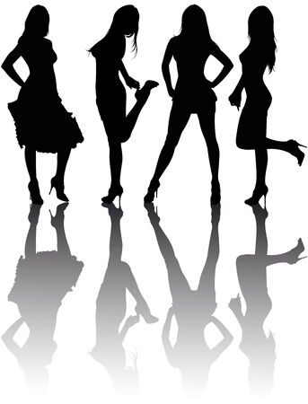 sexy girl dance: Silhouettes of four beautiful girls.  illustration
