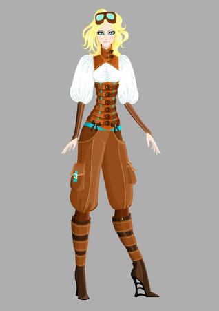 retro model: Beautiful steampunk girl