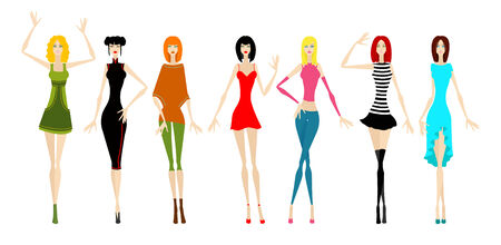 Seven beautiful girls in different clothes. illustration Illustration