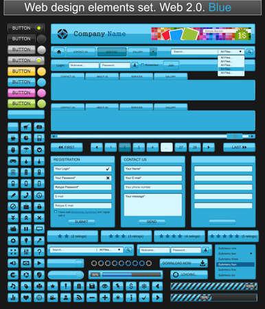Web design elements blue Stock Vector - 9284481