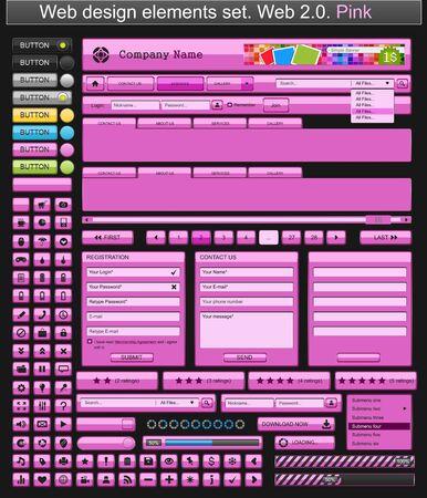 Web design elements pink Stock Vector - 9284478