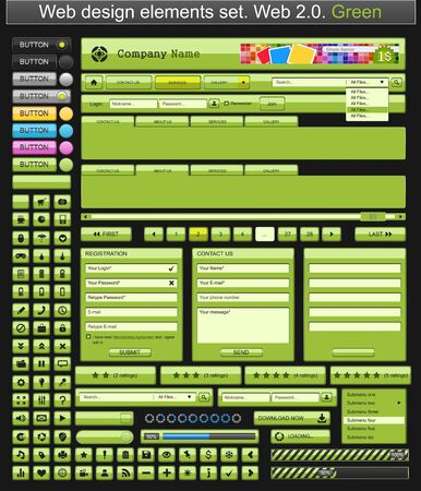 pagination: Web design elements green