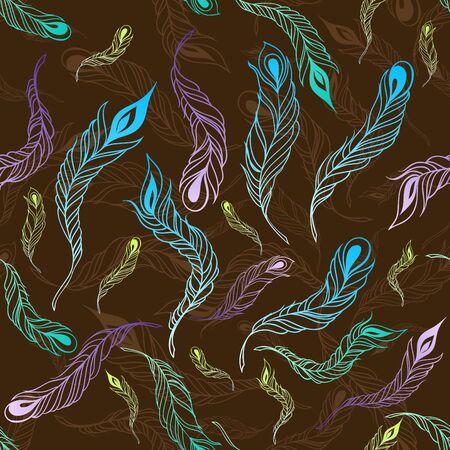 Feather seamless pattern. Vector illustration Vector