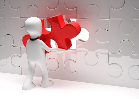 hand red: Man with puzzle. 3d illustration