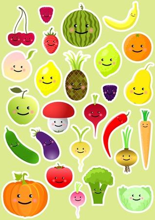 pepino caricatura: Colecci�n de frutas y hortalizas graciosos. Ilustraci�n vectorial