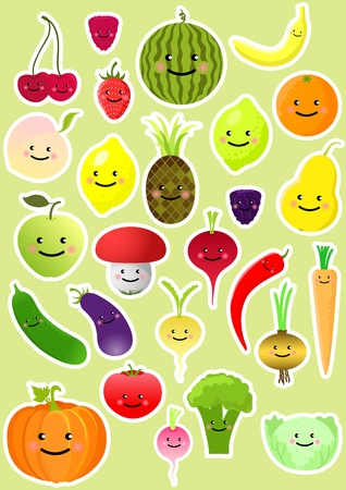 Collection of funny vegetables and fruit. Vector illustration Vector