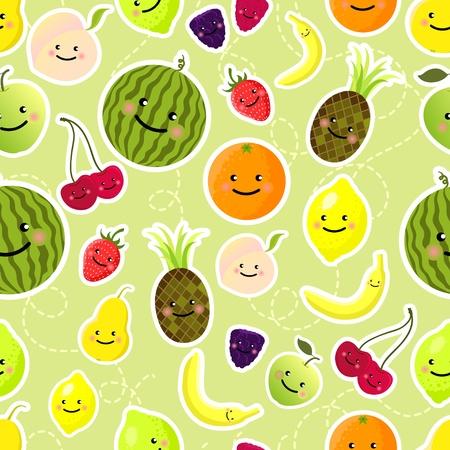 frutas divertidas: Patr�n transparente de frutas. Ilustraci�n vectorial Vectores