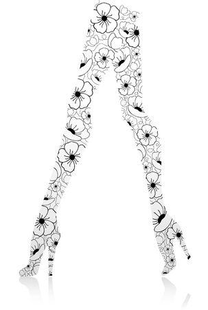 human leg: Glamour fashion legs from flowers. Vector illustration Illustration