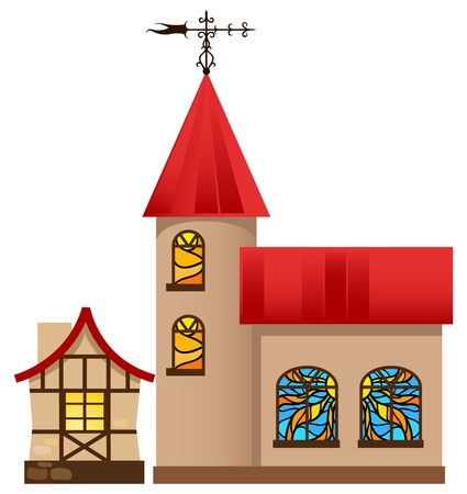 landscape architecture: Medieval house and church.  Illustration
