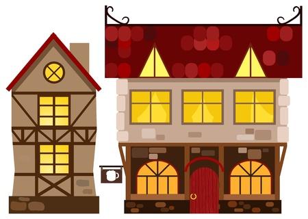 Casa medieval y taberna. Ilustración de vector