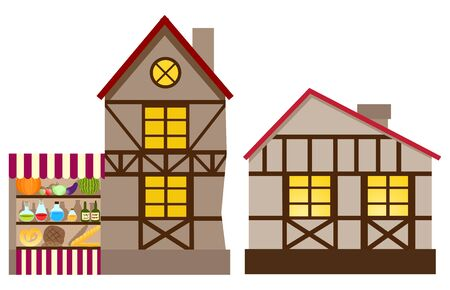 Medieval house and shop. Vector