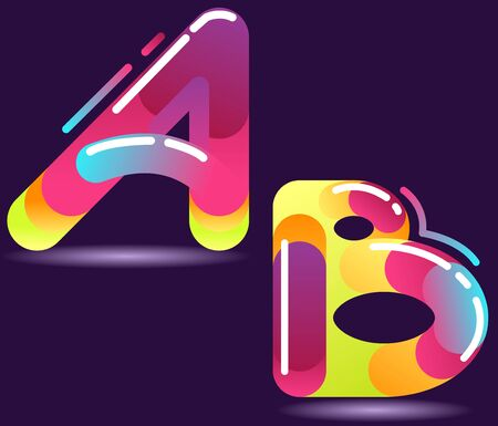 Two letters of alphabet in disco style. Stock Vector - 10685173