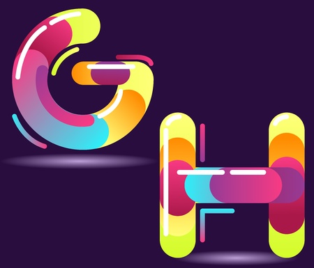 Two letters of alphabet in disco style. Vector