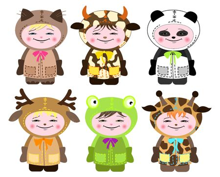 Six children in costumes of animals. Vector illustration Vector